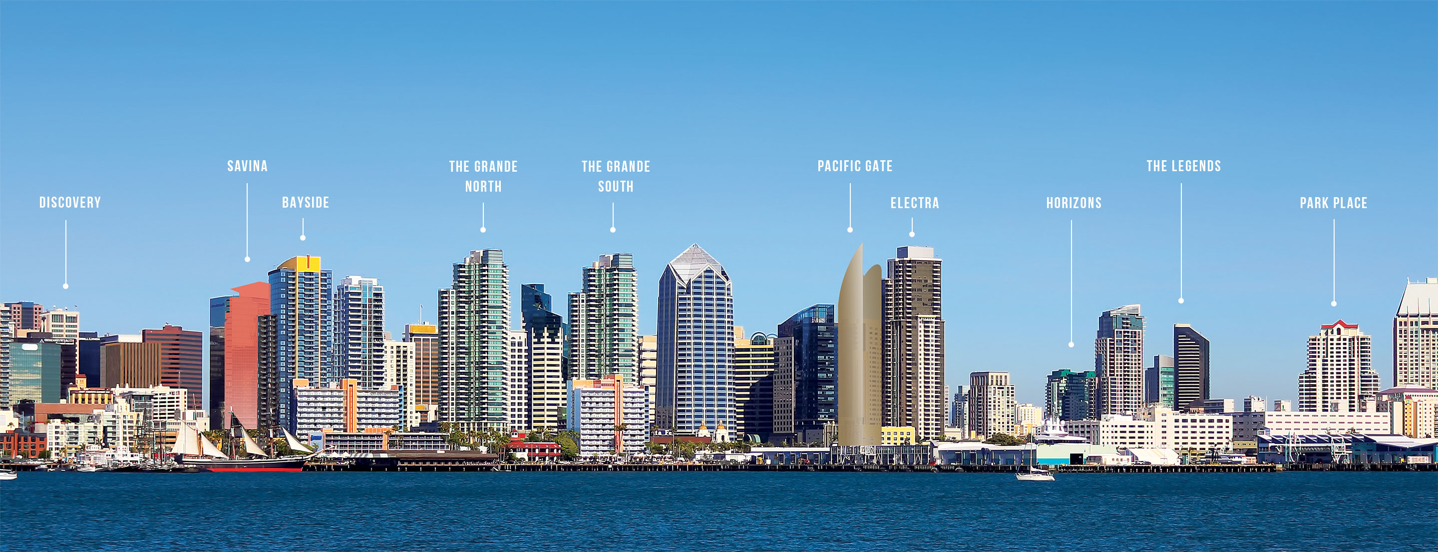 San diego skyline with multiple bosa properties